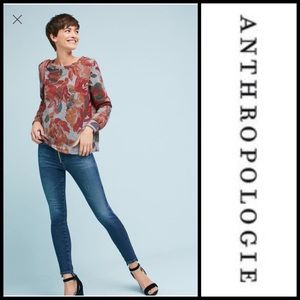 Anthropologie Printed Sweatshirt Gray Floral NWT S